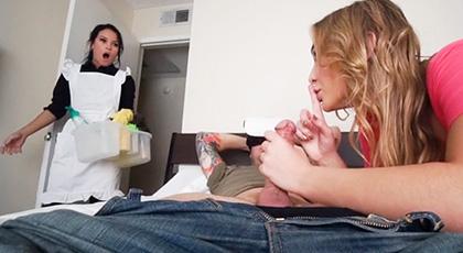 Blair Williams y Megan Rain, Trío con la chica empleada del hotel