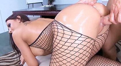 Secretaria con medias de rejilla eróticas, Rachel Starr